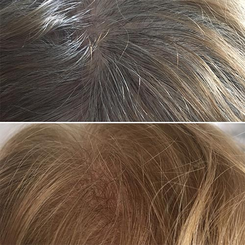 coiffure coloriste coloration cheveux blancs avant après