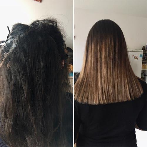 Coloration cheveux par coiffeur coloriste avant après