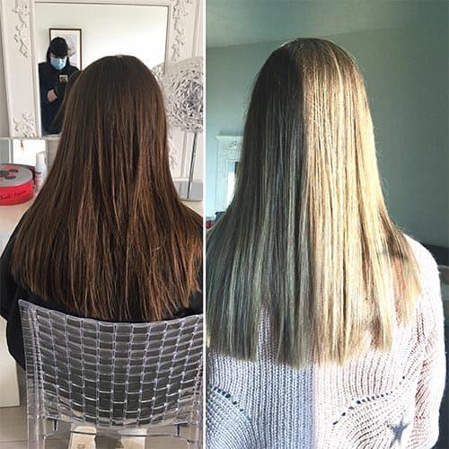 Coloration cheveux par un coiffeur coloriste avant après