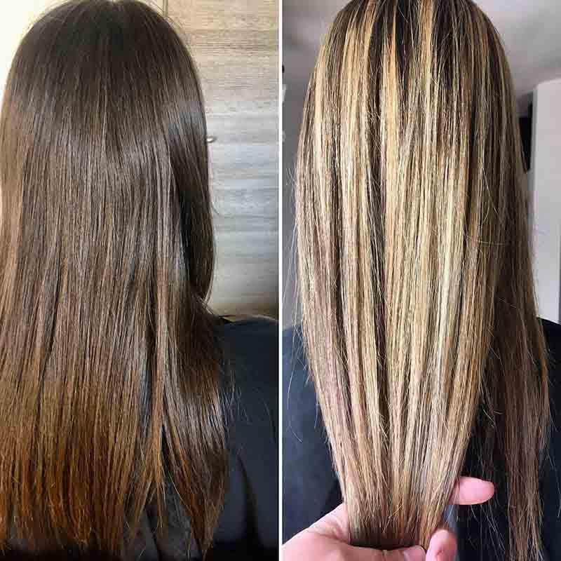 coiffure balayage avant après