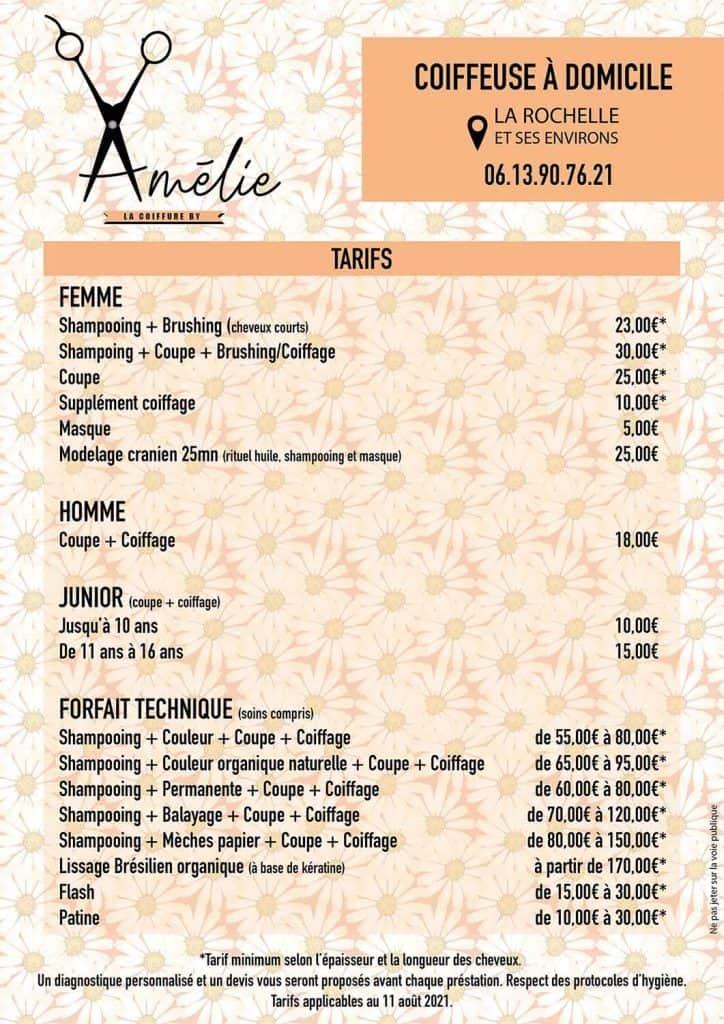 tarifs Amelie coiffeuse à domicile La Rochelle