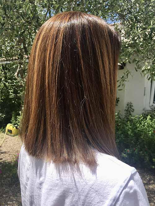 coloration organique cheveux longs par Amelie coiffeuse domicile La Rochelle